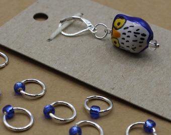 Blue Owl Progress Keeper + Beaded Stitch Marker Set