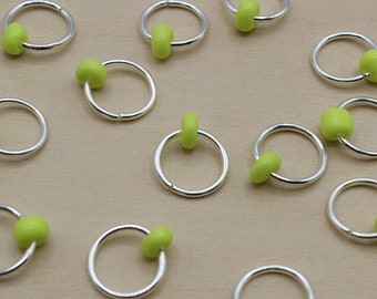 Neon Yellow Beaded Stitch Markers, Knitting Marker, Round Stitch Marker, Snag Free Marker, Stitch Marker Rings, Stitch Keeper