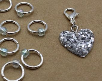 Silver Glitter Heart Progress Keeper + Beaded Stitch Marker Set