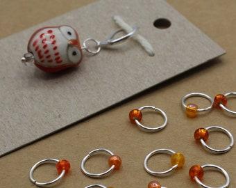 Orange Owl Progress Keeper + Beaded Stitch Marker Set