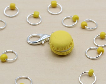 Lemon Macaron Progress Keeper + Beaded Stitch Marker Set