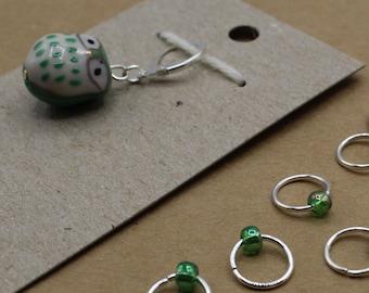 Kelly Green Owl Progress Keeper + Beaded Stitch Marker Set