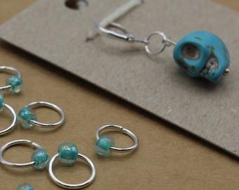 Blue Skull Dia de los Muertos Progress Keeper + Beaded Stitch Marker Set