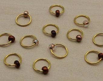 Copper Premium Beaded Stitch Markers