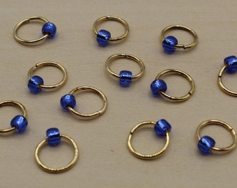 Sapphire Blue Premium Beaded Stitch Markers