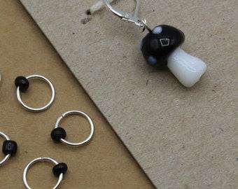 Black Mushroom Progress Keeper + Beaded Stitch Marker Set