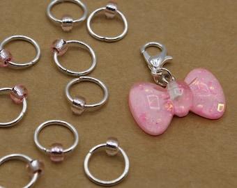Pink Bow Progress Keeper + Beaded Stitch Marker Set