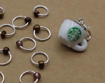 Hot Chocolate Progress Keeper + Beaded Stitch Marker Set