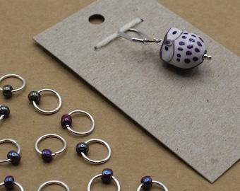 Purple Owl Progress Keeper + Beaded Stitch Marker Set