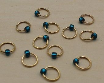 Peacock Blue Beaded Stitch Markers