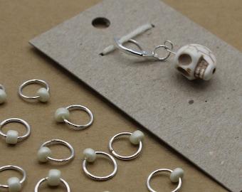 Dia de los Muertos Skull Progress Keeper + Beaded Stitch Marker Set