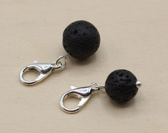 Natural Lava Stone Beaded Stitch Marker, Essential Oil Diffusing Bead