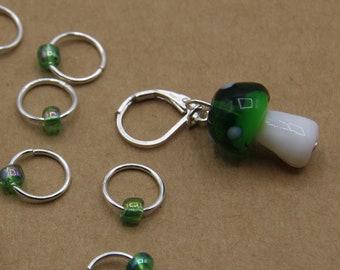 Green Mushroom Progress Keeper + Beaded Stitch Marker Set