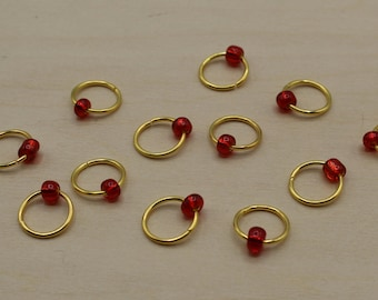 Red Glass Beaded Stitch Markers, Knitting Marker, Round Stitch Marker, Snag Free Marker, Stitch Marker Rings, Stitch Keeper, Yarn Marker