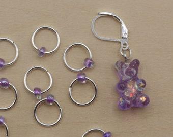 Purple Gummy Bear Progress Keeper + Beaded Stitch Marker Set