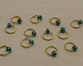Teal Beaded Stitch Markers