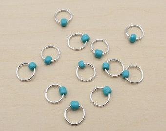 Turquoise Blue Beaded Stitch Markers