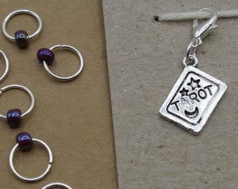Halloween Tarot Progress Keeper + Beaded Stitch Marker Set