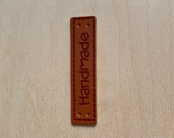 Handmade Faux Leather Accessory Label for Knitting