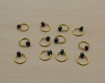 Oil slick  Blue Beaded Stitch Markers