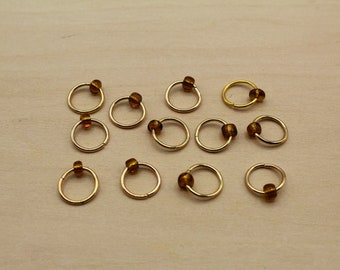 Vintage Gold Beaded Stitch Markers