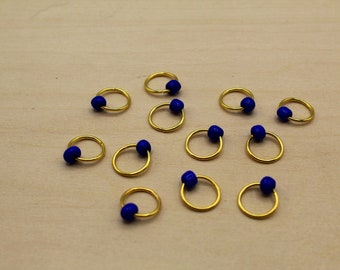 Cobalt Blue Beaded Stitch Markers