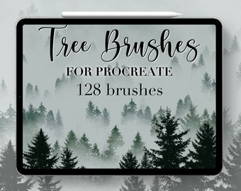 128 Tree Procreate Stamps, Tree Procreate Brushes, Nature, Landscape, Botanical, Procreate Stamps, Tutorial, Lettering, Greeting Cards.