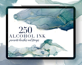 Alcohol Ink Procreate Brushes, Procreate Stamps, Procreate Tutorial, Texture, Alcohol Ink Art, Ink brushes, gold brush, abstract, watercolor