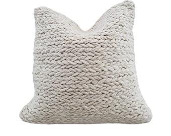Yucca Pillow Cover | Boho Farmhouse Wool Cushion Cover | Neutral Off-White Natural Throw Pillow - 20x20