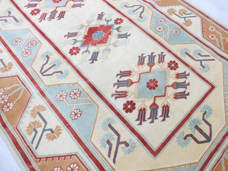 Turkish Rug 5.3x8,Turkish Carpet,Vintage Boho Decor Colorful Room Cappadocia Design Caucasian Entrance Carpet Faded Outdoor Low Pile Kitchen