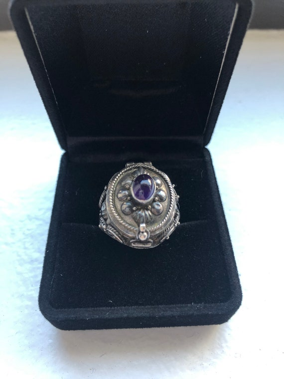Antique silver poison ring