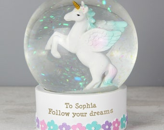 Personalised Unicorn Snow Globe, Magical gift for a little girl, Christening, Birthday Gift, Unicorn Gift, Snowglobe Gift, Christmas Gift