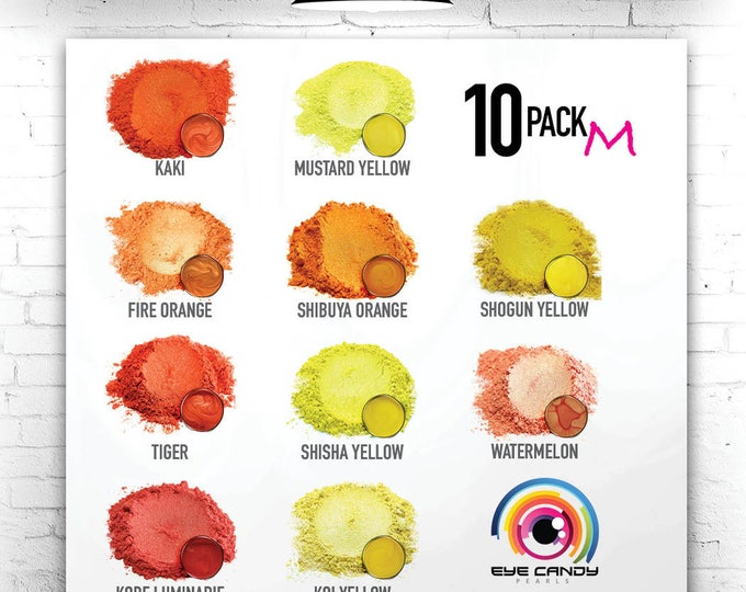 Eye Candy Mica Pigments 10 Color Sample Set M-Yellow/Orange