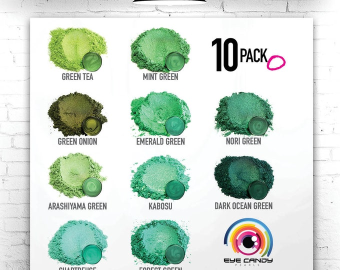Eye Candy Mica Pigments 10 Color Sample Set O-Greens