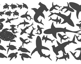 Vinyl Stickers- Sharks, Turtles, Dolphins or Whales
