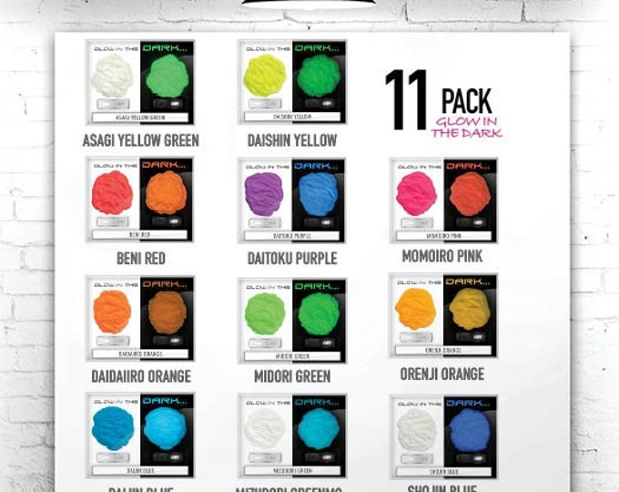 Eye Candy Mica Pigments 11 Color Variety Pack GLOW-IN-DARK