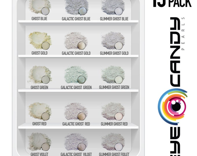 Eye Candy Mica Pigments 15 Color Variety Pack - Ghost White Pigments