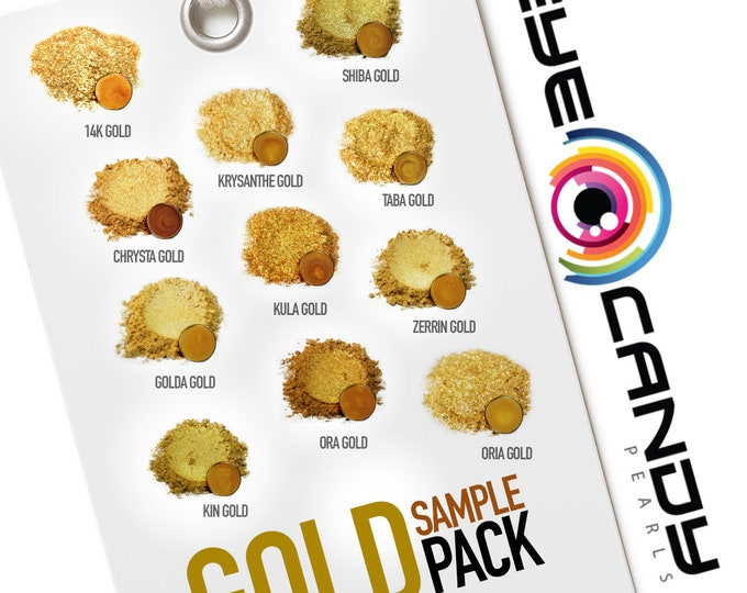 Eye Candy Mica Pigments 11 Color Variety Pack - GOLD SAMPLE