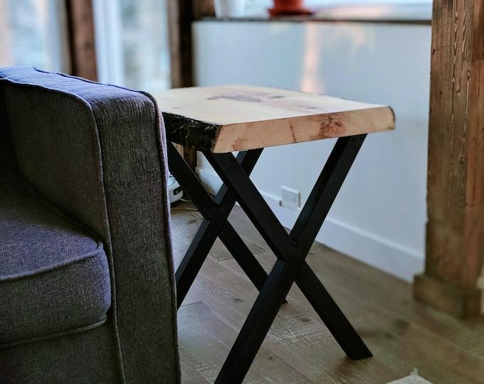"""20"""" Steel Side table X-Shape Legs Black Powder Coat"""