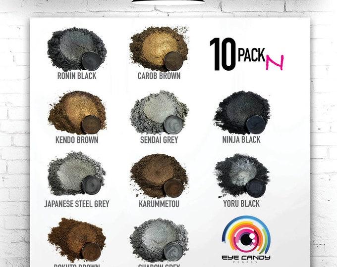 Eye Candy Mica Pigments 10 Color Variety Pack N- Blacks, Greys & Browns