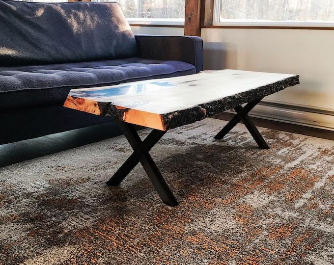 "15"" Steel Coffee table X-Style Legs Black Powder Coat"