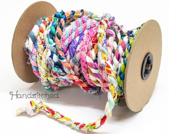 fabric twine hand wrapped multi colored fabric jelly roll rug kit - 5 yard piece - fabric rope for rugs, hot pads, and rope