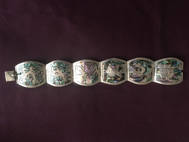 Mexican Sterling /& Abalone Shell Panel bracelet 04-16-1