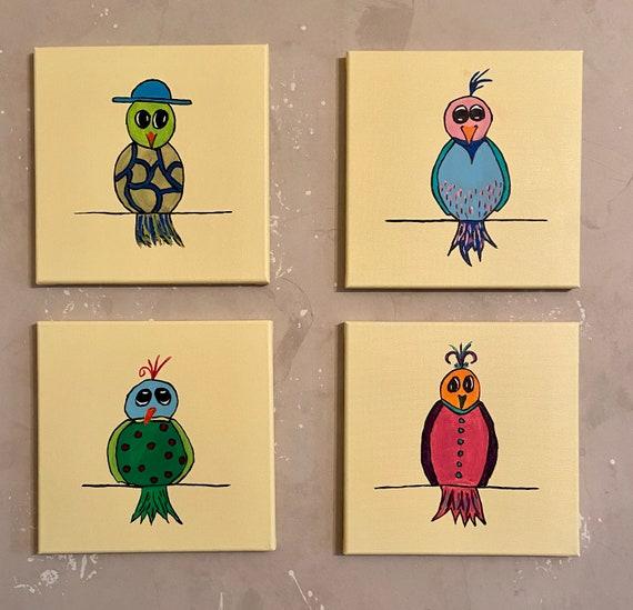 "The Birdie Bunch  4 @ 12""x12"""