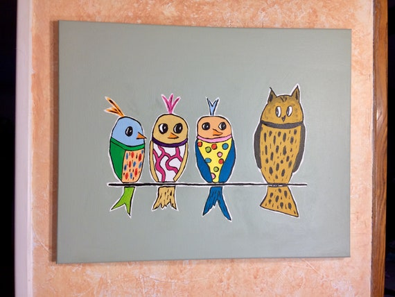 Crazy Birds painting 16x20