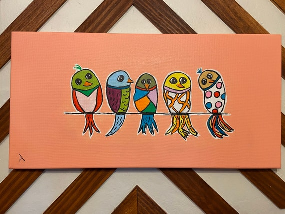"Crazy Bird painting 10""x20"""