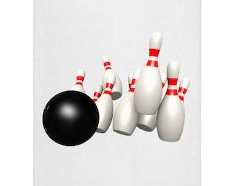 Bowling Player Blanket King Of Bowling Neon Pattern Fleece Blanket House Decor