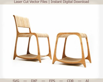 Chair and Stool. Cnc, cnc files, cnc patterns, 3d puzzle, laser vector, laser cut template, cnc router files, woodworking plans