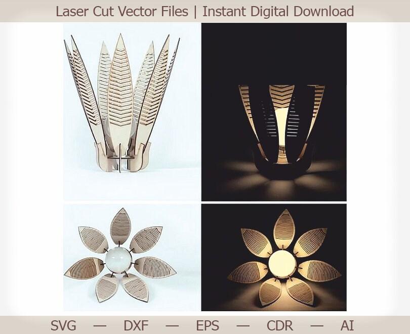 Lampe. Vecteur de coupe laser, fichiers découpés au laser, puzzle 3d, lasercut, plan vectoriel pour cnc, fichiers cnc dxf, vector glowforge, puzzle dxf
