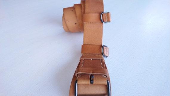 Leather Army Belt / Original Yugoslav Army Belt /